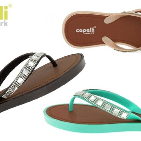 121230855636 35% Off Capelli New York Opaque Jelly With Square Gem Trim Flip Flop For  Women (Only  11 instead of  17)