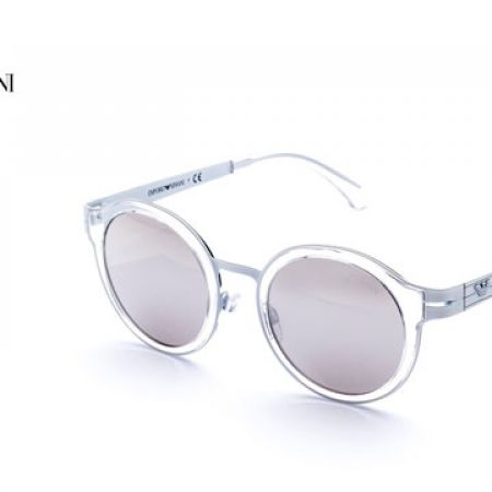 908e189b7c0e 50% Off Emporio Armani Round Sunglasses EA 2029 3107 6G Matte White Frame  With Mirrored Silver Fade For Women (Only  122.5 instead of  245) - Makhsoom