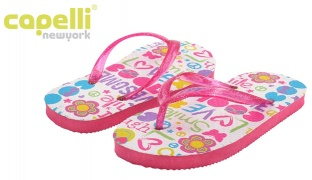 47% Off Capelli New York Glitter Jelly Thong With Cool Collage Print Flip Flop For Girls Size: 27-29 (Only $9 instead of $17)