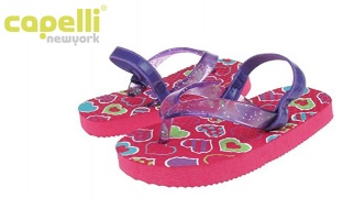 47% Off Capelli New York Glitter Jelly Thong On Heart Print Flip Flop For Toddler Girls - Size: 20-22 (Only $9 instead of $17)