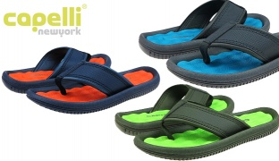47% Off Capelli New York Faux Leather Thong With EVA Lining Flip Flop For Boys - Nocturnal Navy - Size: 27-29 (Only $9 instead of $17)