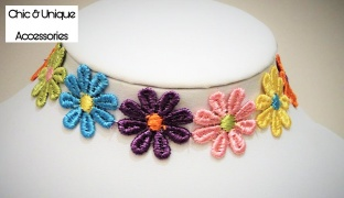 25% Off Chic & Unique Handmade Colorful Flowers Choker For Women (Only $7.5 instead of $10)