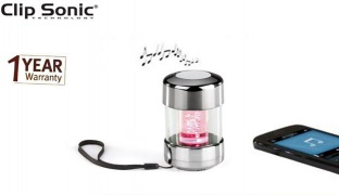 Clip Sonic Bluetooth Compatible LED speaker With Microphone 2 W