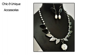 Chic & Unique Set Of Handmade Hematite Choker Colored Stones Choker With Earrings For Women