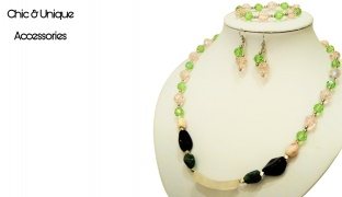Chic & Unique Set Of Handmade Rose Quartz Semi-Precious Stone Choker & Crystal Beads With Earrings & Bracelet For Women