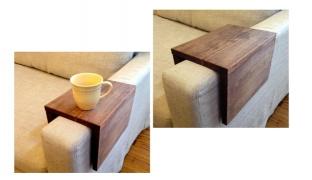 Handcraft Wood Couch Sofa Arm Shelf