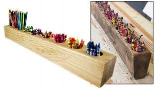 Handcraft Wooden Pen Holder - Dark Wood