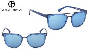 Emporio Armani Square Sunglasses EA 2030M 3102/55 Matte Blue Frame With Light Blue Fade For Women