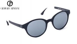 Emporio Armani Round Sunglasses EA 4045 5323/6G Matte Black Frame With Grey Gradient Fade Unisex