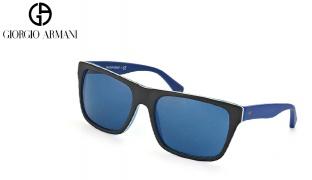 Emporio Armani Square Sunglasses EA 4048 5392/80 Matte Black & Blue Frame With Grey Gradient Fade For Men