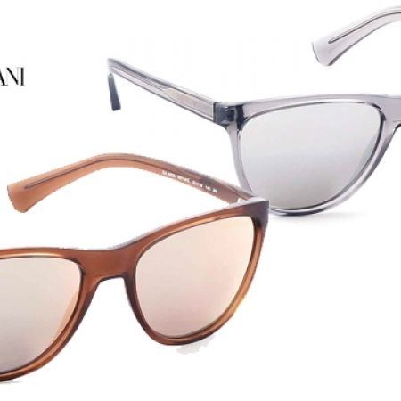 69356d3d290 Emporio Armani Sunglasses EA 4053 5372 6G Transparent Grey Frame With  Silver Mirror Fade For Women