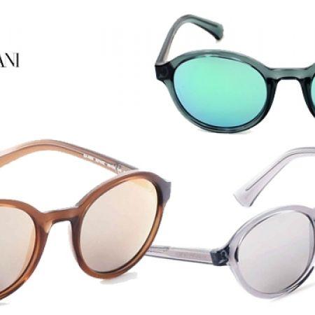 bf86bdd11be8 Emporio Armani Round Sunglasses EA 4054 5372 6G Transparent Grey Frame With  Silver Mirror Fade For Men - Makhsoom