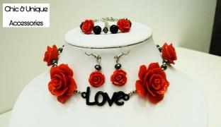 Chic & Unique Set Of Handmade Red Roses Love & Beads Choker With Earrings & Bracelet For Women