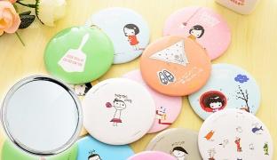 Pocket Small Cute Cartoon Cosmetic Mirror Shaped Round - Bows