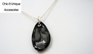 Chic & Unique Handmade Swarovski Elements Grey Droplet Silver Necklace For Women