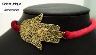 Chic & Unique Set Of Handmade Golden Palm Red Velvet Choker With Bracelet For Women