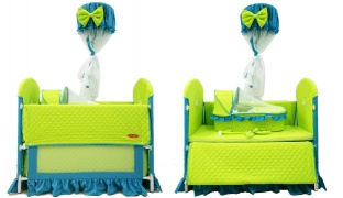 Multifunctional Green & Blue Baby Bed With An Assorted Baby Crib