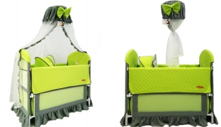 Multifunctional Green & Grey Baby Bed With An Assorted Baby Crib