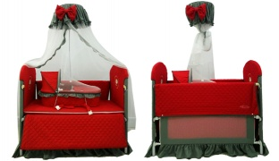 Multifunctional Red & Grey Baby Bed With An Assorted Baby Crib