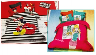 Set Of 3 Pcs Cartoon Printing Bedding Set For Kids 1 Pc Bed Duvet Cover, 1 Pc Bed Sheet and 1 Pc Pillowcase - Mickey Mouse