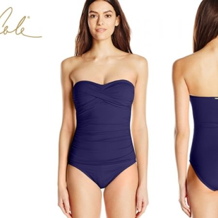 75bbabbdbdd46 Anne Cole Twisted-Front Caribbean Blue Bandeau One-Piece Swimsuit For Women  Size: Large - Makhsoom