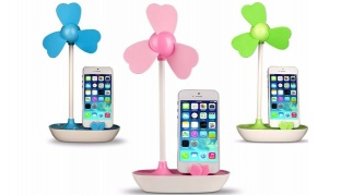 USB Fan With Mobile Phone Holder - Green