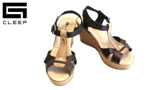 Cleep Black & Beige Leather Sandal For Women - Size: 36
