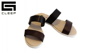 Cleep Black & Chestnut Leather Flat Sandals For Women - Size: 36