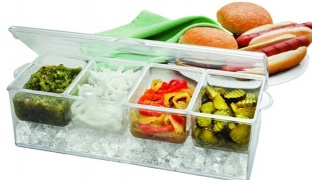 Condiment Server On Ice With 4 Removable Containers Serving Tray