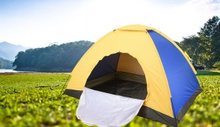 Portable Camping Tent For 3 Persons - Purple/Yellow