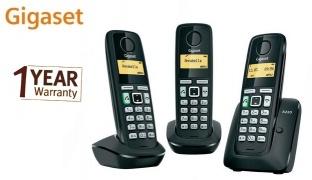Gigaset A220 Trio Black Cordless Phone Low Radiation