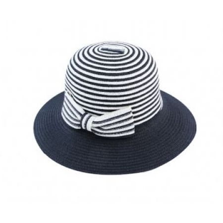 9f3dc91ae Straw Stylish Stripped Navy Blue & White Summer Hat For Women