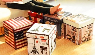 Retro Design US Flag Storage Box Case Chair