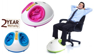 Foot Massager Rolling Kneading Air Pressure Heating - Blue
