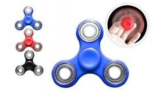 Tri-Spinner Fidget Plastic Hand Spinner Toy - Black