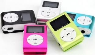 Metal Clip LCD Screen Digital MP3 Player FM Radio - Black