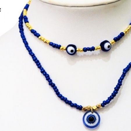 Chic & Unique Handmade Double Layer Blue Evil Eye Necklace ...