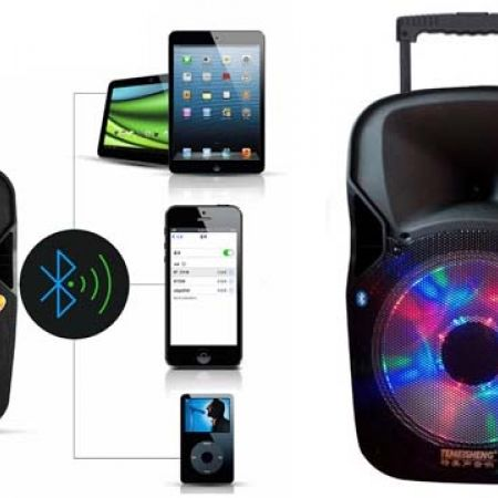 Portable Led Light Trolley Speaker A8-7 With Bluetooth & Microphone
