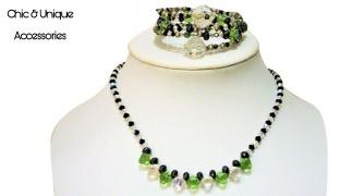 Chic & Unique Set Of Handmade Green Swarovski Elements Necklace With Bracelet For Women 2 Pcs