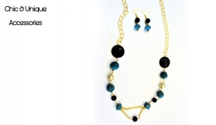 Chic & Unique Set Of Handmade Green & Dark Blue Long Necklace For Women 3 Pcs
