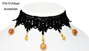 Chic & Unique Handmade Royal Black & Gold Lace Choker For Women