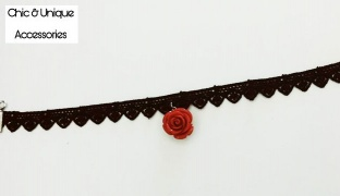 Chic & Unique Handmade Elegant Black Lace Choker With Red Rose For Women