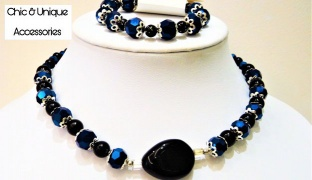 Chic & Unique Set Of Handmade Black & Blue Classy Beaded Necklace With Bracelet For Women