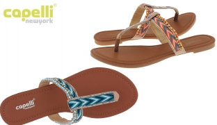 Capelli New York Tribal Chevron & Beaded T-Strap Flip Flop For Women - Coral - Size: 36