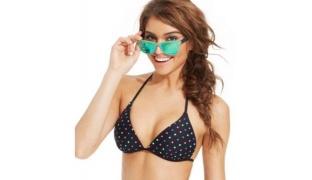 California Waves Triangle Polka-Dot Push-Up Bikini Top Swimsuit For Women Size: XL