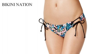 Bikini Nation Floral-Print Side-Tie Hipster Bikini Bottom Swimsuit For Women Size: Large