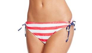 California Waves Red & White Striped Side Tie Bikini Bottom Swimsuit For Women Size: Medium
