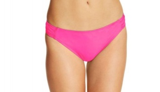 California Waves Pink Ruched Side-Tab Bikini Bottom Swimsuit For Women Size: XS