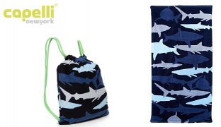 Capelli New York Shark Camo Beach Towel With Tote Bag