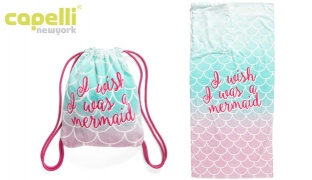 Capelli New York I Wish I Was A Mermaid Beach Towel With Tote Bag